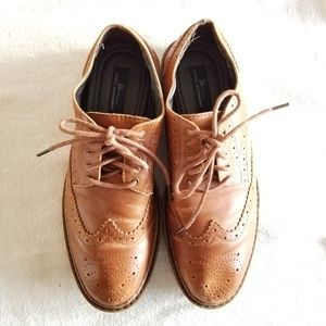 Leather Oxfords in Cognac Brown
